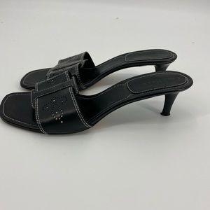 Cole Haan blk perforated leather kitten heel slide
